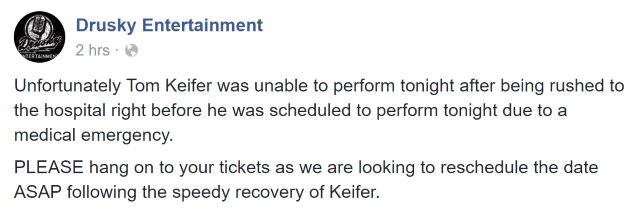 TOM KEIFER: Warrendale, Pennsylvania Concert Canceled Due To 'Medical Emergency'
